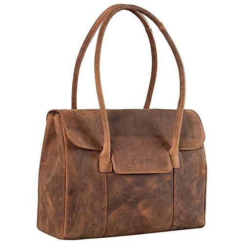 STILORD 'Carrie' Handtasche Shopper Damen Leder Umhängetasche Groß Bowling Bag Handtasche Hobo Bag Tote Tasche Schultertasche für Frauen Vintage Echtleder, Farbe:Torino - braun