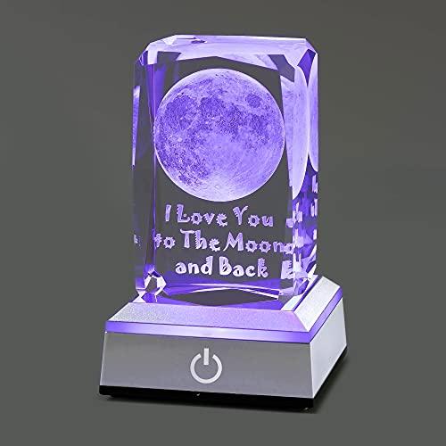 HOCHANCE 3D Moon Crystal with LED Colourful Light Base,Birthday...