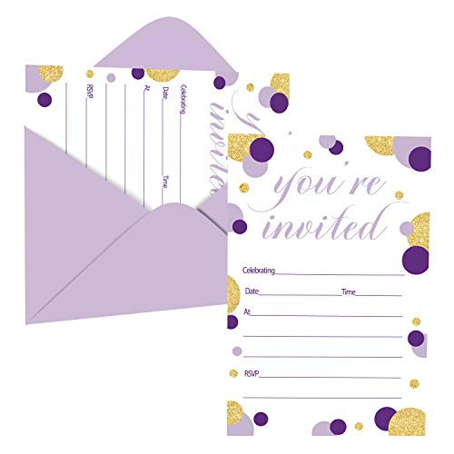 Purple and Gold Invitations with Envelopes (15 Pack) Girls Baby...