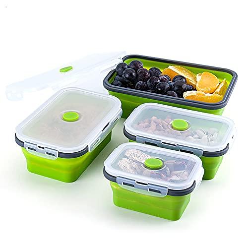 Fiambreras Silicona plegables, Recipientes de Silicona Plegable,Fiambrera de Silicona Juego,Silicona Recipientes para Alimentos, Aptas para Microondas, Congelador y Lavavajillas(verde)