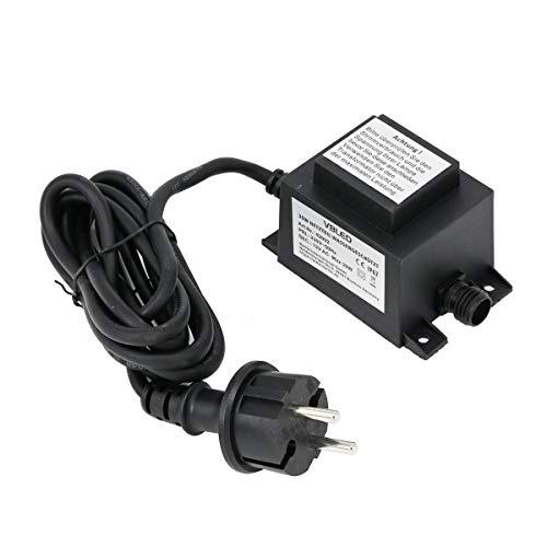 VBLED® Außen Steckernetzteil Trafo 12V AC / 30W / IP67 für den Betrieb von Leuchten mit IP44 Stecksystem GARTUS (Kompatibel mit Bodeneinbauleuchte und Gartenleuchte, etc.)