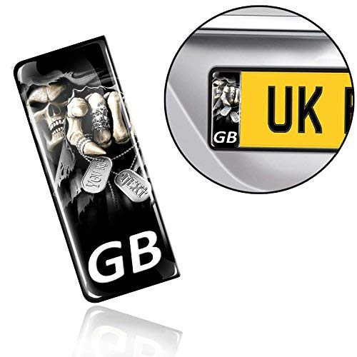 SkinoEu 2 x 3D Gel Silicone GB Badge Car Number Plate Self-adhesive Stickers Skull UK Decals QS 4