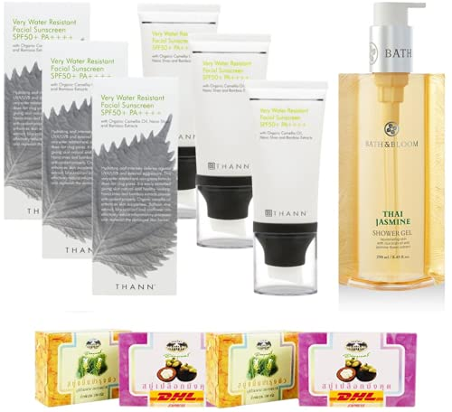 Set A14 Very Water Resistant Facial Sunscreen SPF50+ Bath & Bloom THAI JASMINE SHOWER DHL EXPRESS By Thaigiftshop [Get Free Tomato Facial Mask]