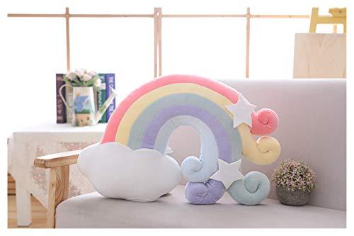Youpin Nuevo lindo peluche de la serie Kawaii Sky Almohada para dormir de bebé de la luna de peluche suave estrella de tiro arco iris Shell cojín decoración de habitación regalo (color: nube A)
