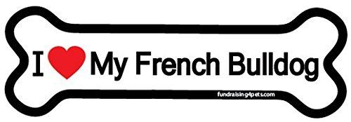 I Love My French Bulldog bone magnet