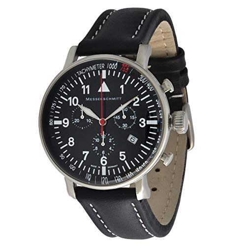 Messerschmitt Fliegeruhr Quarz Chronograph ME-755 Tachymeter Lynette Schweize Quarz Ronda 5030D Uhrwerk (Leder Schwarz)