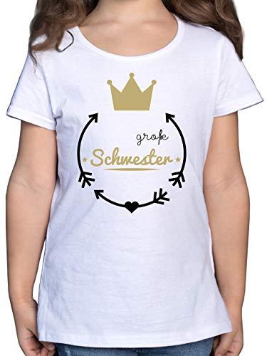 Geschwister Schwester - Große Schwester - Krone - 104 (3/4 Jahre) - Weiß - Big Sister Shirt - F131K - Mädchen Kinder T-Shirt