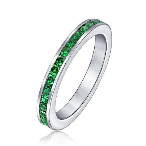 Kubische Zirkonia Grün Stapelbar Cz Kanal Einstellen Ewigkeit Band Ring Simuliert Smaragd Für Frauen Für Teen Sterling Silber