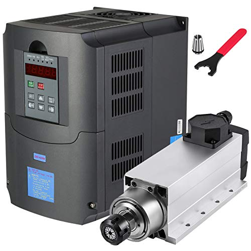 VEVOR Spindle Motor 4KW Square Air Cooled Spindle Motor ER25 18000RPM Collect & VFD Variable Frequency Drive 220V 4KW for CNC Router Engraving Milling Machine