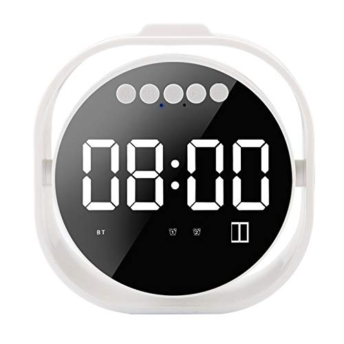 Glomixs Alarm Clock Mini Mirror Bluetooth Speaker LED Screen Support Card Wireless Subwoofer