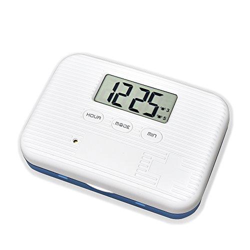 U-Trak Pill Box Alarm Pill Organizer Mini Portable Daily Pill Case with Digital Alarm Clock Reminder 6 Compartments Blue