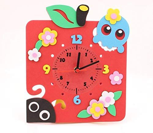 hehuanxiao Horloge DIY Art Crafts Materials Eva 3D Kids Educational Toys for Younger Children Handmade Cartoon Animal Clocks Early Education