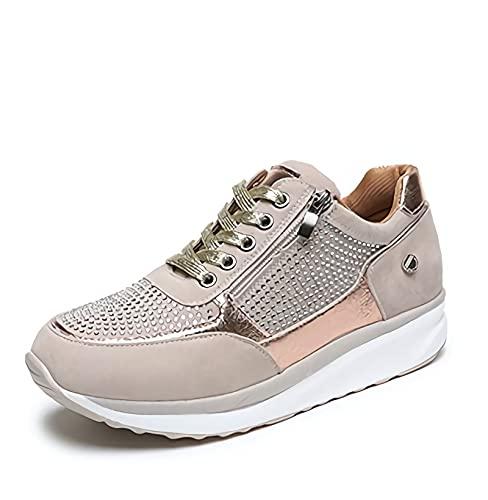 MIAOFA Zapatos Planos Casuales para Mujer Mocasines con Suela Suave de Punta Redonda y Cremallera Lateral Zapatillas para Correr Ligeras con amortiguación cómoda y Transpirable,2,36