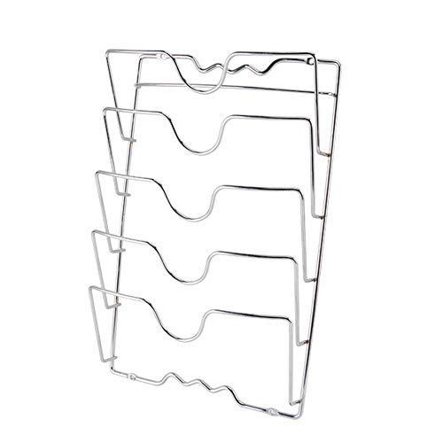 Zzh Soportes de Pared para Utensilios y menaje de Cocina con 5 apartados – Práctico Organizador de Tapas de ollas y sartenes – Metal Cromado Organizador, 27x43 cm