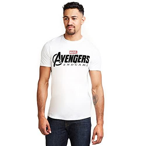 Marvel Avengers Endgame Logo T-Shirt, Bianco (White White), (Taglia Produttore: Medium) Uomo