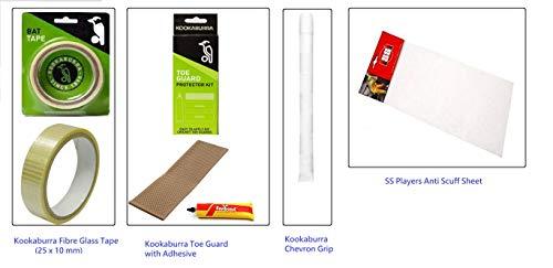 Cricket Bat Kit : Kookaburra Fiber glass tape, Toe guard, Chevron Grip white & SS player Antiscuff sheet