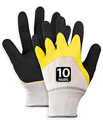 Work Gloves Breathable Soft Rubber for Gardening, Construction, Mechanic and more. For Men, Women. Excellent Grip - MEDIUM - 10pack