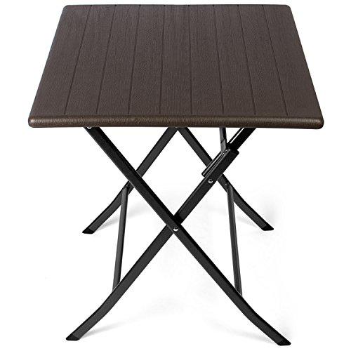 Park Alley - Table d'appoint pour extérieur - Table de Jardin carrée avec Effets bois - Pliable et ultra compacte - Structure en acier - Parfait pour Jardin, Terrasse et Balcon