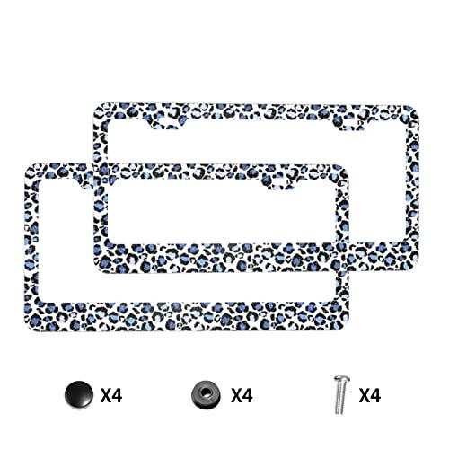 Foruidea Marco de matrícula de aluminio mate con purpurina de leopardo con tapas de rosca negras, 2 agujeros, marcos de placas de licencia de coche, soportes para vehículos, mujeres y hombres