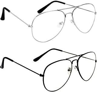 Dervin Transparent Stylish Men's Women's Aviator Sunglasses Night Driving Combo of 2 (Clear/White)