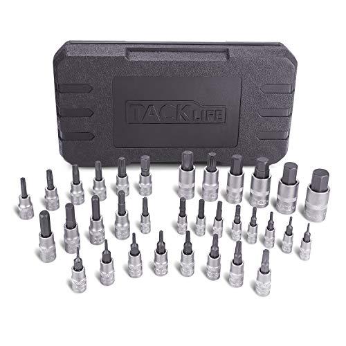 TACKLIFE Juego de llave de vaso, Hexagonales Profesional, 33 Piezas(16pcs Torx, 17pcs Hexagonales), Aleado S2, Alta Precisión, Para Reparar Motocicletas, Coche, Muebles, Electrodomésticos - HBS1C