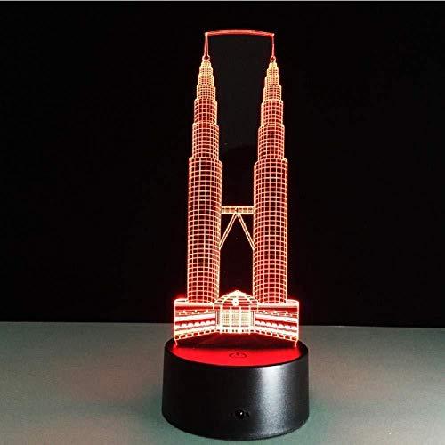 Twin Tower Gebäude 3D Led-Lampe Berührungssensor Nachtlicht 7 Farbwechsellampe Für Kinderbett Raum Stimmungsbeleuchtung