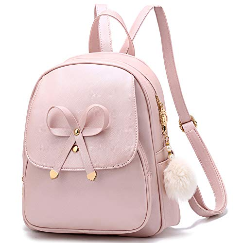 Cute Bowknot Mini Backpacks PU Leather Girls Women Backpack Shoulder Bags for Ladies Small Rucksack Teenagers - Goldpink