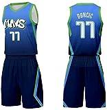 MMW Camiseta De Baloncesto para Hombres Camiseta De Baloncesto - Incluyendo Pantalones Cortos - Dallas Mavericks NO.77 Luka Doncic Camiseta De Baloncesto para Adultos Y Niños,Blue1,Medium