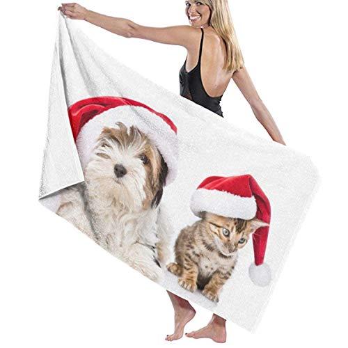 angwenkuanku Strandtuch Badetücher Weihnachten Malteser Havaneser Katze Decke Luxuriöse 100% Polyester Mehrzweck Badetücher Große Handtuchhülle für Zelt