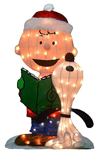Product Works 32-Inch Pre-Lit Peanuts Charlie Brown and Singing Snoopy Christmas Yard Art, 70 Lights