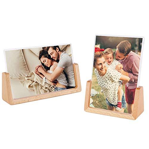 Portafoto a Forma di U, 2 Pezzi Portafoto in Faggio, 5x7 inch Portafoto in Legno per la Decorazione della Scrivania di Casa, Cornice per Foto di Matrimonio, Foto di Gruppo, Animali Domestici