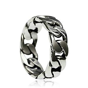 KnSam Silber Ring Männer Herren Ring In Silber Kette Silber