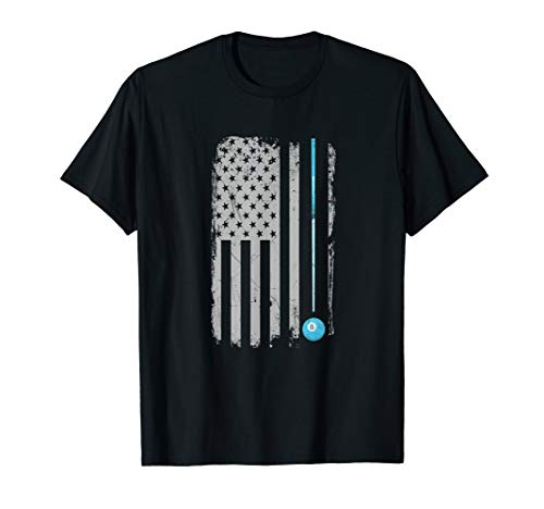 Pool Stick Billiards 8 Ball Vintage USA American Flag T-Shirt