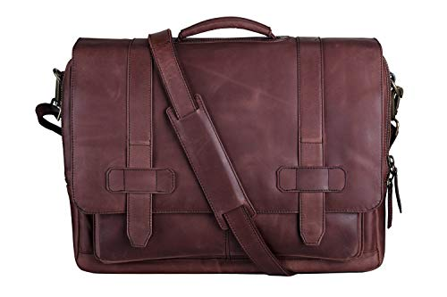 Ladderback Leather Messenger Bag for Men, Logan, Leather Briefcase,...