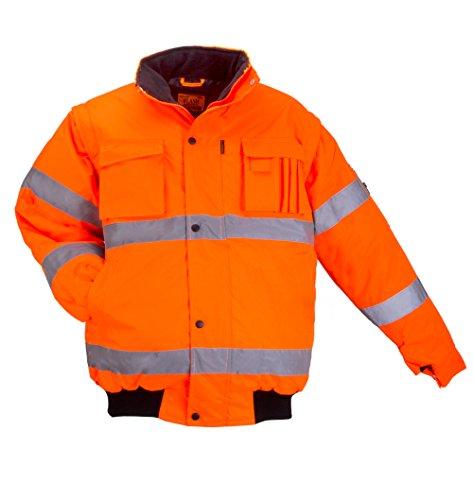ART.MAS Warnschutzjacke Arbeitsjacke Warnjacke Pilotenjacke Warnweste 2in1 orange (Flash-SH-J-ORANGE) (2XL)