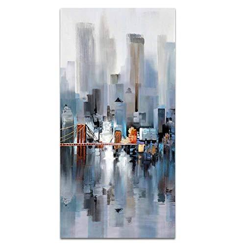 N / A Hochhaus Gebäude Brücke Stadt Landschaft Abstrakte Kunst Leinwand Malerei Poster Bild Wohnzimmer Wohnkultur Dekoration Rahmenlos 40x80cm