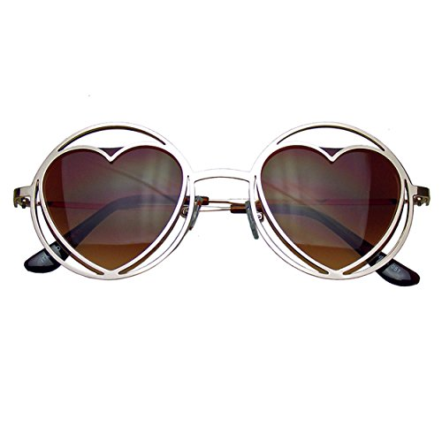 Emblem Eyewear - Gafas De Sol De Las Mujeres Ronda Corazón Metal Forma Círculo Hippie (Oro)