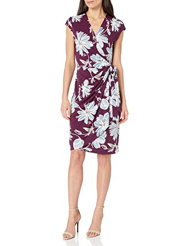 Marca Amazon - Lark & Ro Classic Cap-Sleeve Wrap Dress V