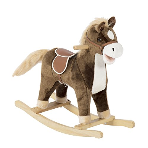 Peach Tree Baby Kids Toy Plush Wooden Rocking Horse Boy Riding Rocker with Sound Brown (26' L x 10' W x 24' H)