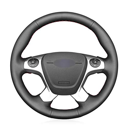 Cubierta del volante del coche de cuero artificial negro, para Ford Transit Connect Tourneo Custom G