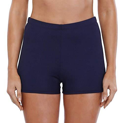 Avacoo Badeshorts Badehose Damen High Waist Bikinihose Schwimmhose Sport Bikini Shorts UV Schutz Bade Hotpants Dunkelblau 38 M UK10