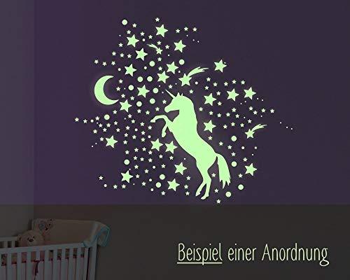 Leuchtaufkleber Einhorn Variante 2, Wandtattoo, Leuchtsticker, Sternenhimmel, leuchtende Sterne, Leuchtpunkte, Leuchtaufkleber, leuchten im dunklen, fluoreszierend, 2 x A4 Bögen (300 Aufkleber)