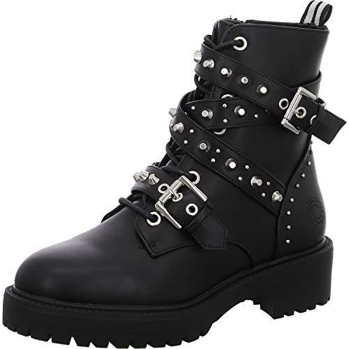 BULLBOXER Damen Stiefel, Frauen Schnürstiefel,Boots,Combat Boots,Schnürung, Boots Combat schnürung Freizeit,Schwarz,40 EU / 7 UK