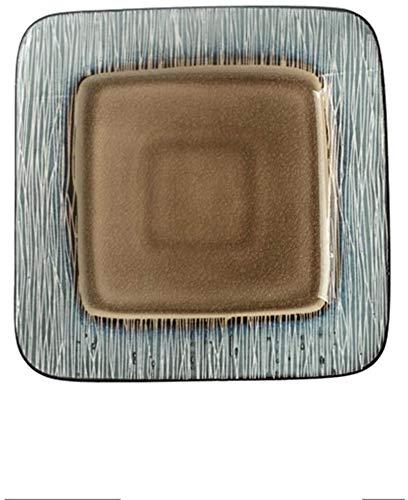TREEECFCST Platos Vajilla 21.7x2Cm Hielo grieta del Esmalte Placa Filete Placa de Moda de la Vendimia del Plato Occidental Placa Plato Creativo, Verde (Color : Brown)