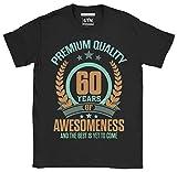 6TN Hombre 60 años de Asombroso y lo Mejor está por Llegar 60 años Camiseta de cumpleaños (M, Negro)
