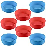 Silicone Cake Moulds Tins Red and Blue Round Cake Pan Set 4' Non-Stick Baking Molds Cake Mould Pastry Baking Tray 8 Pcs