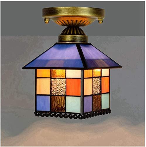 DALUXE Tiffany Deckenleuchte Lampe, Deckenleuchte Tiffany-Art-Deckenleuchte Erröten-Einfassung Buntglas Shade für Abendessen Wohnzimmer,EIN