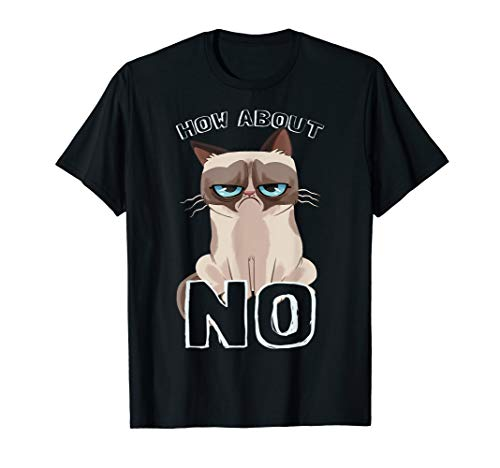 Grumpy Cat How About No Cartoon Graphic T-Shirt