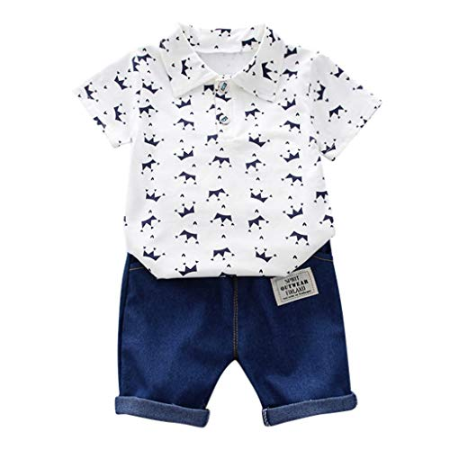 LEXUPE Kleinkind Kinder Baby Boy Kurzarm Crown Muster Shirt Tops + Denim Hosen Set(Weiß,100/L)