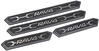 Iycorish Stainless Steel Door Sill Protectors Door Sill Scuff Plate Guard 4 Pcs Set for RAV4 2019-2020